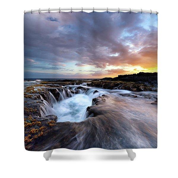 June Blow Hole Sunset Shower Curtain