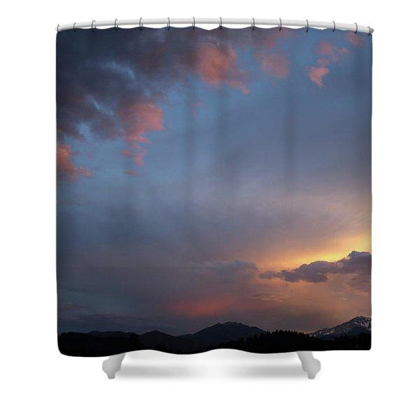 June Sunset Longs Peak Shower Curtain
