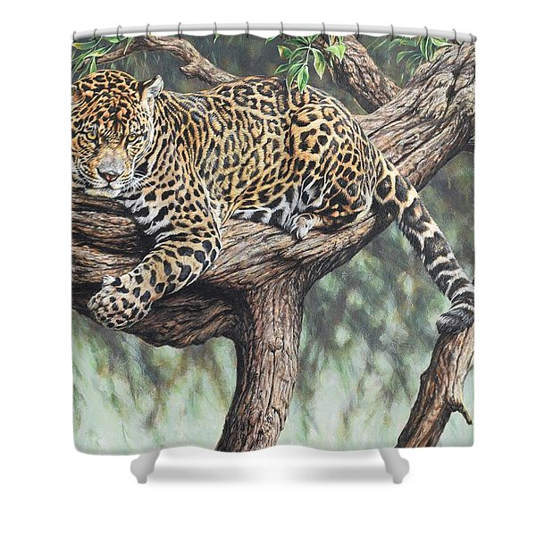 Shower Curtain featuring the painting Jungle Outlook by Alan M Hunt