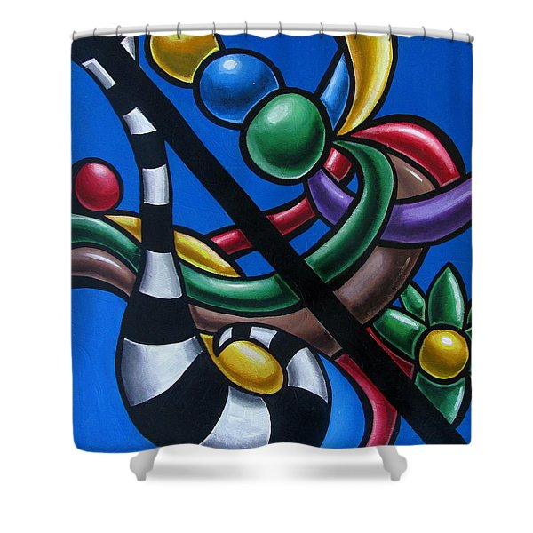 Original Colorful Abstract Art Painting - Multicolored Chromatic Artwork Painting Shower Curtain