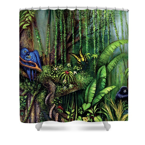 Shower Curtain featuring the painting Jungle Talk by Lynn Buettner