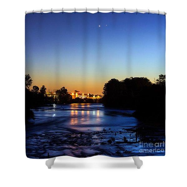 Jupiter And Venus Over The Willamette River In Eugene Oregon Shower Curtain