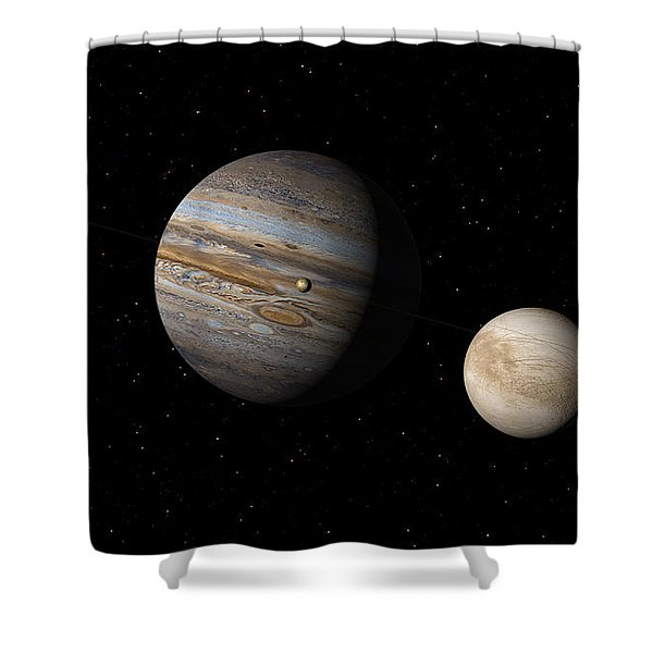Jupiter With Io And Europa Shower Curtain