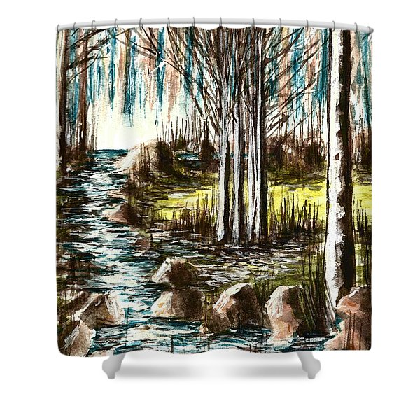 Just Around The Riverbend  Shower Curtain