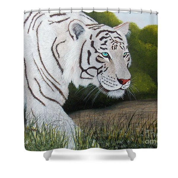 Shower Curtain featuring the painting Just Looking by Tracey Goodwin