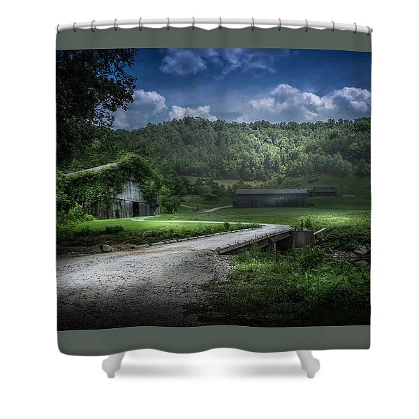 Just Over The Bridge Shower Curtain