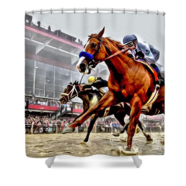 Justify Wins Preakness Shower Curtain