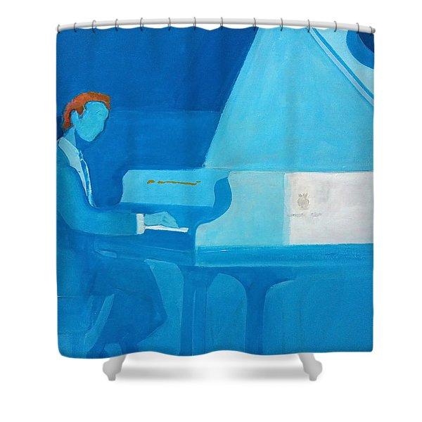 Justin Levitt Steinway Piano Blue Shower Curtain