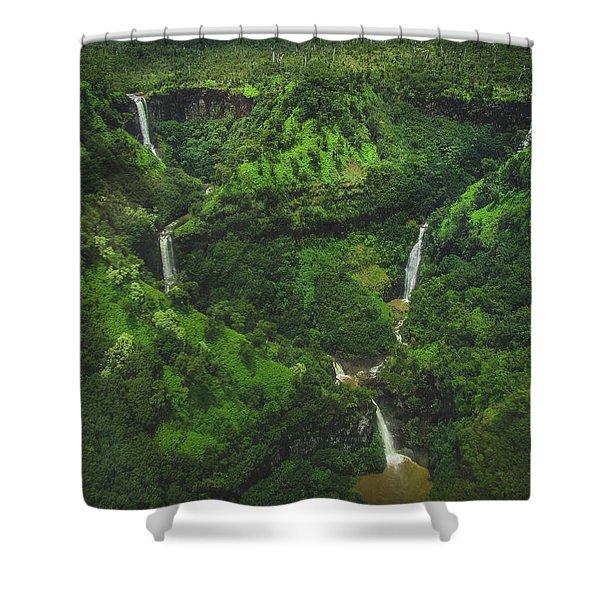 Kahili Falls Aerial Shower Curtain