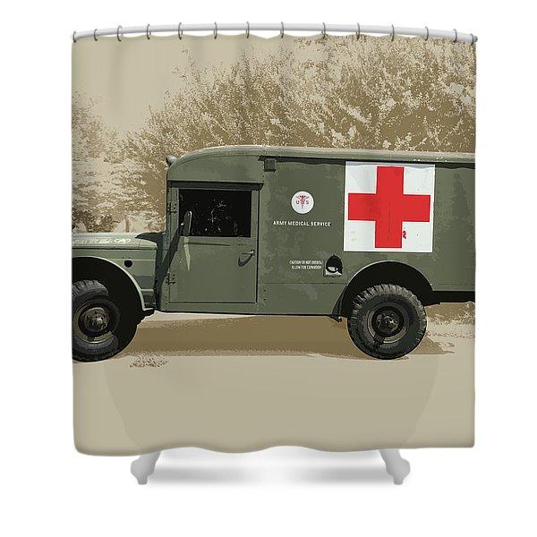Kaiser Jeep M725 Army Shower Curtain