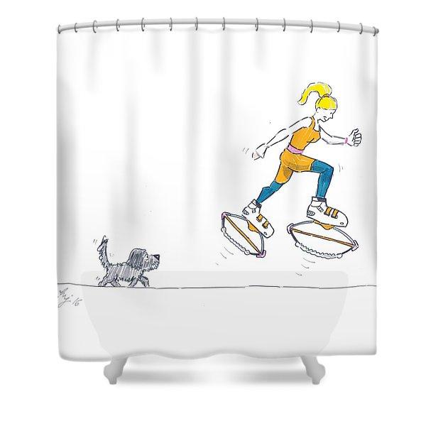 Kangoo Jumps Bouncy Shoes Walking The Dog Keep Fit Cartoon Shower Curtain