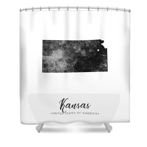 Kansas State Map Art - Grunge Silhouette Shower Curtain