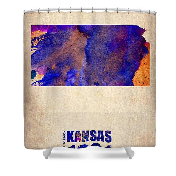Kansas Watercolor Map Shower Curtain