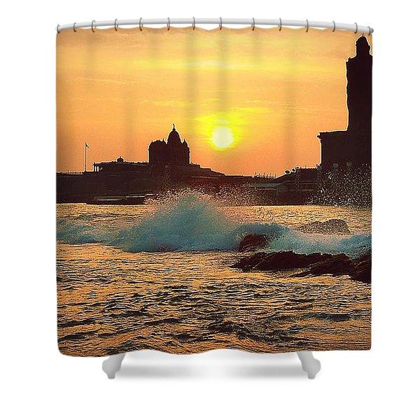 Shower Curtain featuring the photograph Kanyakumari / Cape Comorin by Raimond Klavins