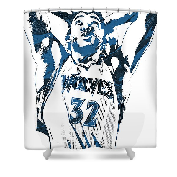 Karl Anthony Towns Minnesota Timberwolves Pixel Art Shower Curtain