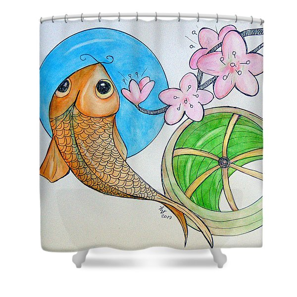 Karp And Cherry Blooms Shower Curtain