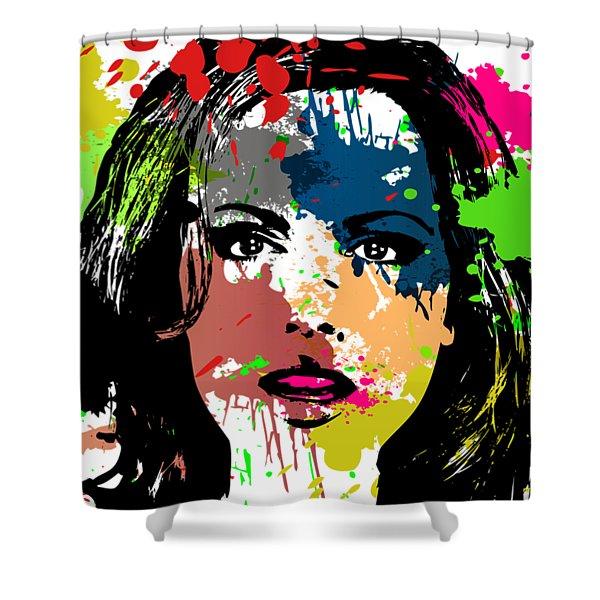 Kate Beckinsale Pop Art Shower Curtain