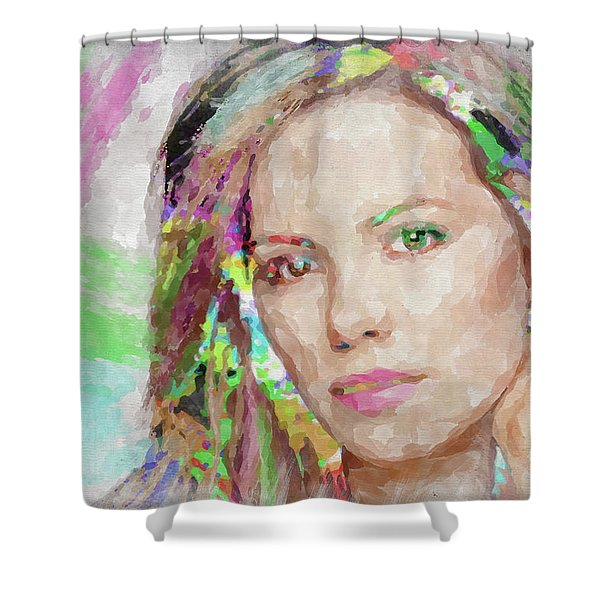 Kate Beckinsale Watercolor Shower Curtain