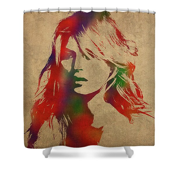 Kate Moss Watercolor Portrait Shower Curtain