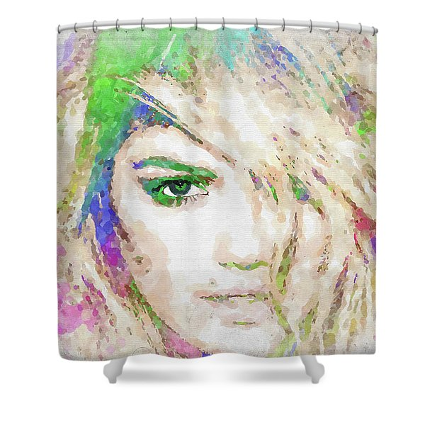 Kate Upton Watercolor Shower Curtain