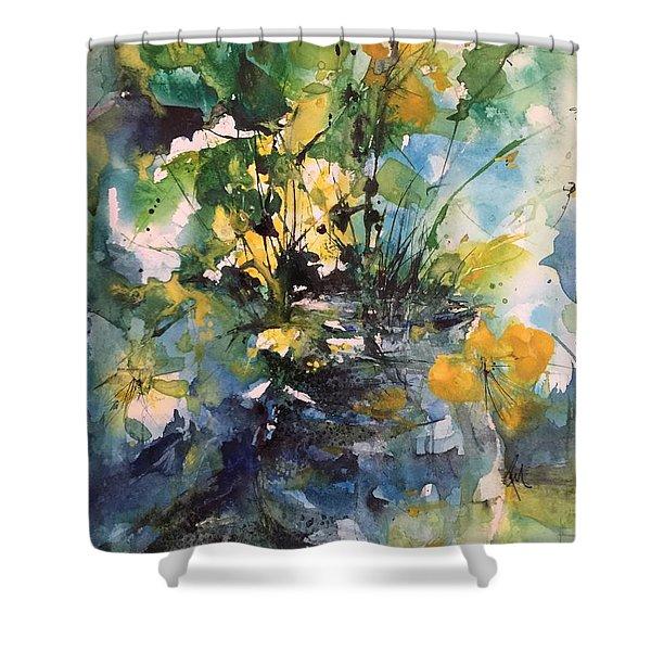 Kathleen's Yellow Flowers Shower Curtain
