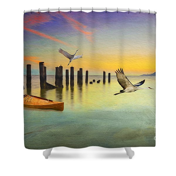 Kayak And Cranes Shower Curtain