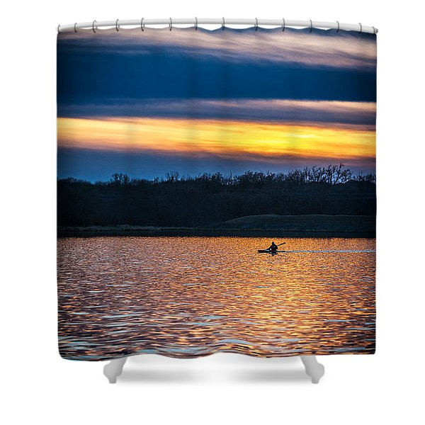 Kayak Sunset Shower Curtain
