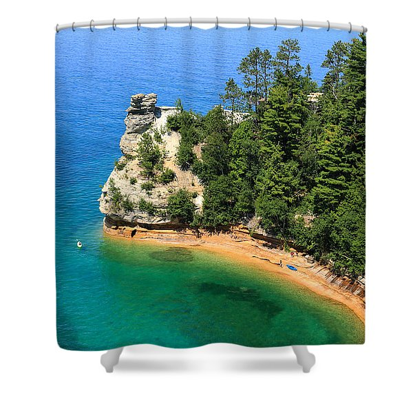 Kayaking At Miners Castle Shower Curtain