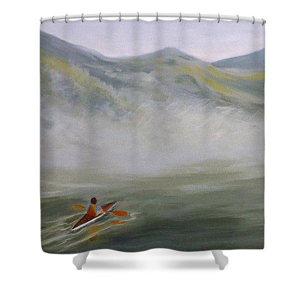 Kayaking Through The Fog Shower Curtain