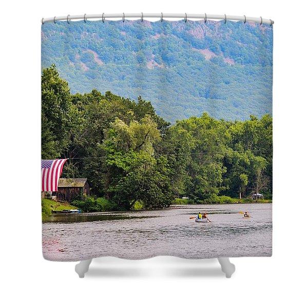 Shower Curtain featuring the photograph Kayaking On Nashawannuck Pond Easthampon by Sven Kielhorn
