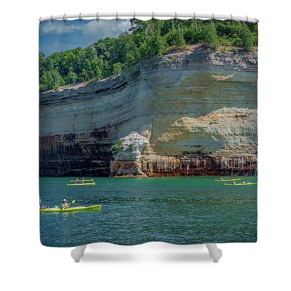 Kayaking The Pictured Rocks Shower Curtain