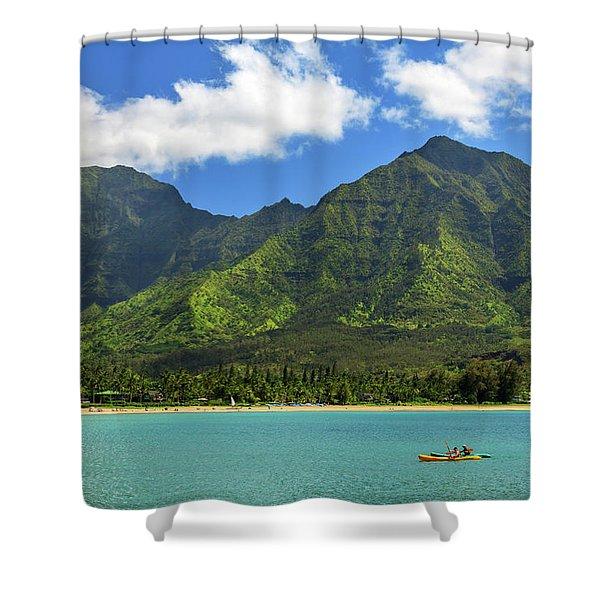 Kayaks In Hanalei Bay Shower Curtain