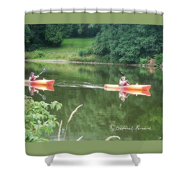 Kayaks On The River Shower Curtain