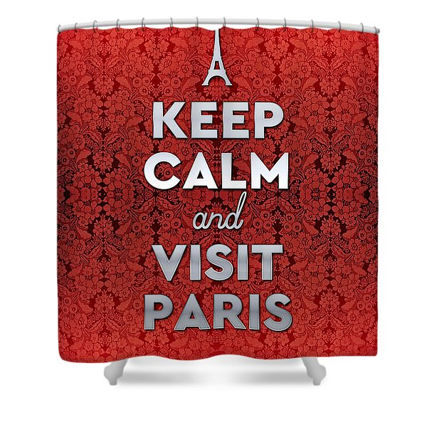 Keep Calm And Visit Paris Opera Garnier Floral Wallpaper Shower Curtain