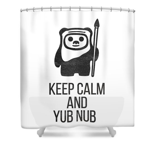Shower Curtain featuring the drawing Keep Calm And Yub Nub by Edward Fielding
