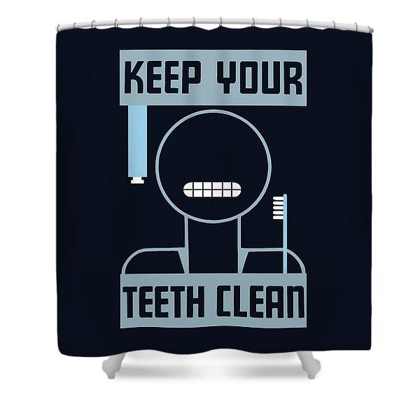 Keep Your Teeth Clean - Wpa Shower Curtain