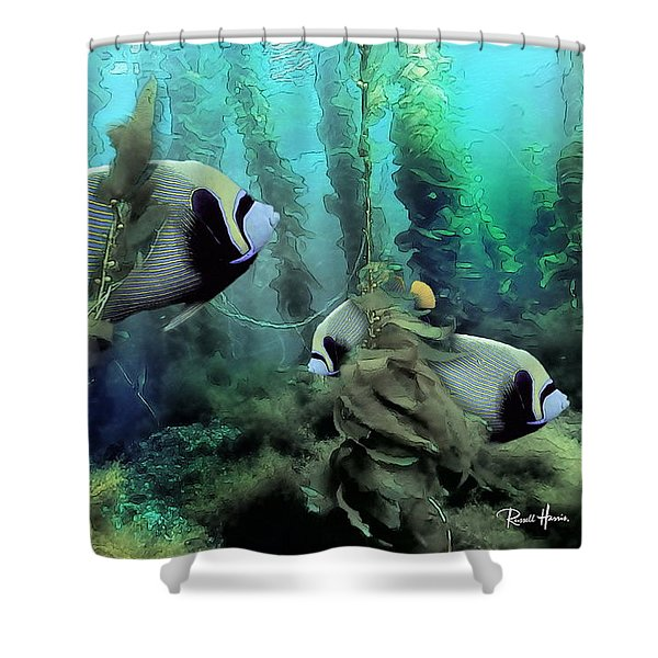 Kelp And Queen Anglefish Shower Curtain