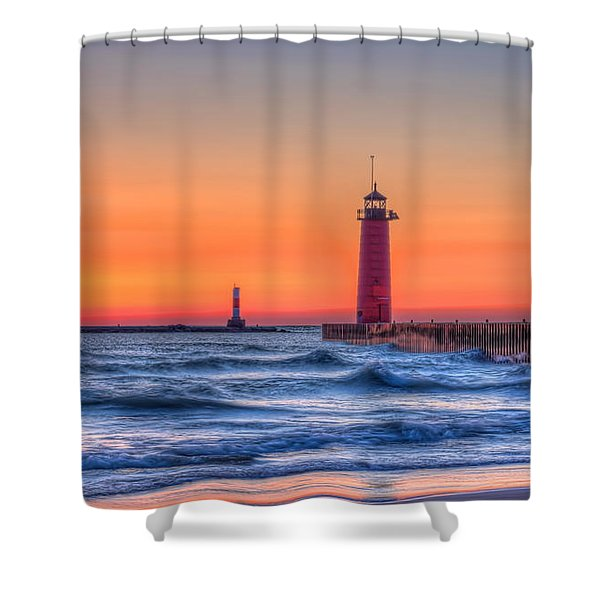 Kenosha Lighthouse Dawn Shower Curtain