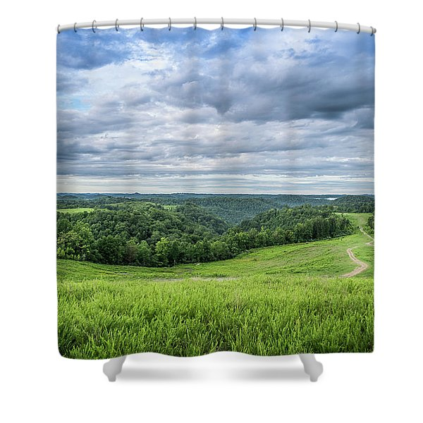 Shower Curtain featuring the photograph Kentucky Hills And Clouds by Lester Plank