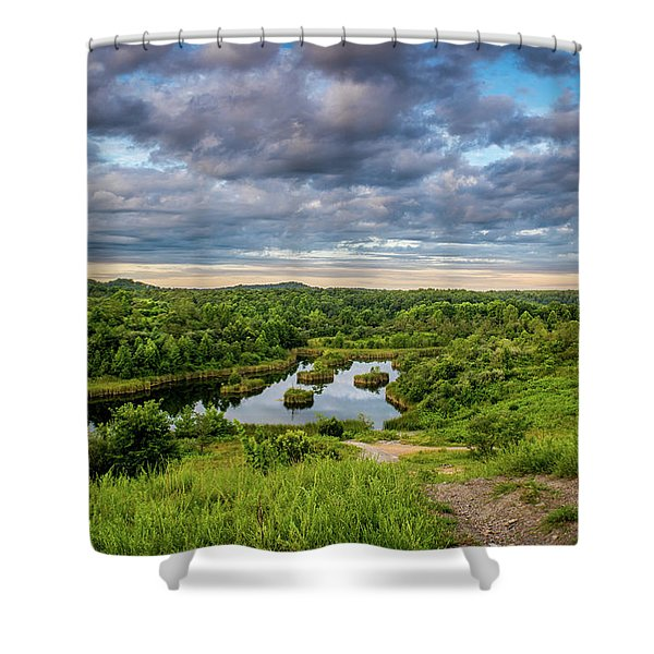 Shower Curtain featuring the photograph Kentucky Hills And Lake by Lester Plank