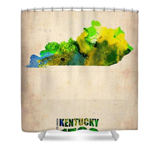 Kentucky Watercolor Map Shower Curtain