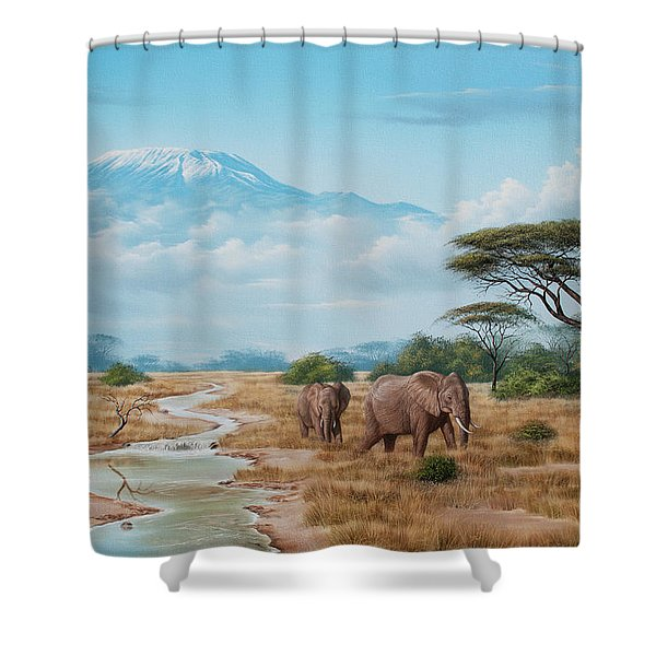 Kenyan Bushveld Elephants Shower Curtain
