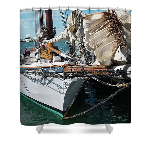 Key West Appledore Sailboat Shower Curtain