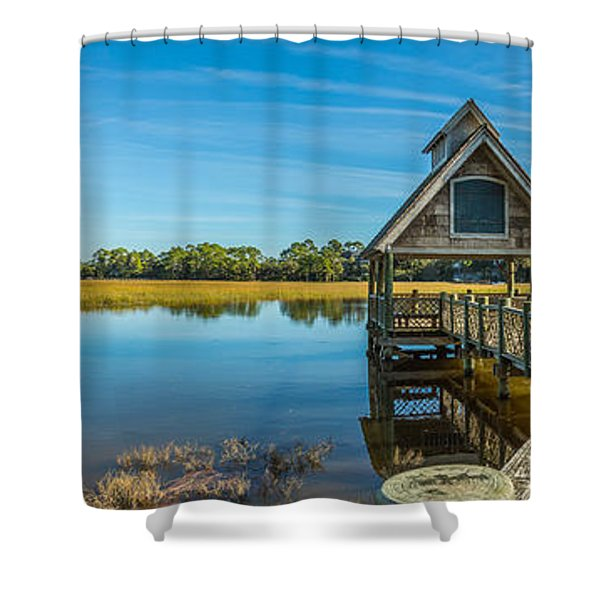Kiawah Island Boathouse Panoramic Shower Curtain