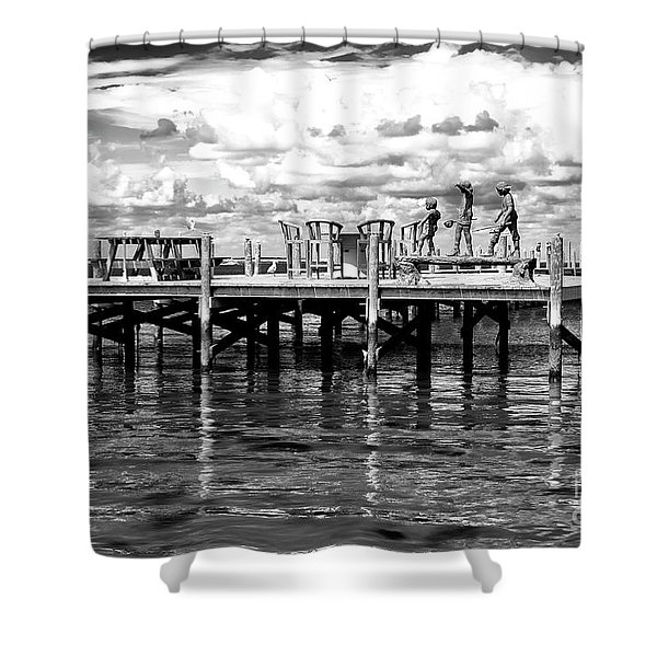 Kids On The Dock At Long Beach Island Shower Curtain