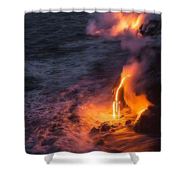 Kilauea Volcano Lava Flow Sea Entry 6 - The Big Island Hawaii Shower Curtain