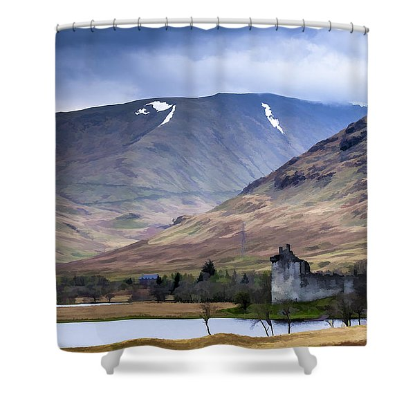 Kilchurn Castle On Loch Awe In Scotland Shower Curtain