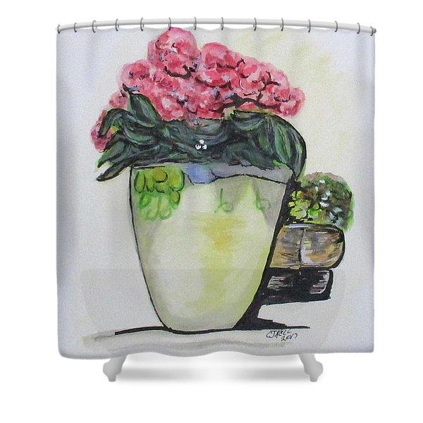 Kimberly's Castellabate Flower Pot Shower Curtain