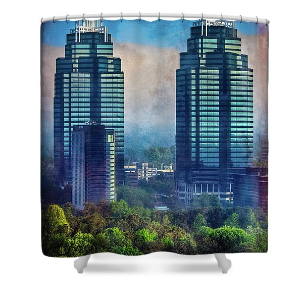 King And Queen Buildings Shower Curtain