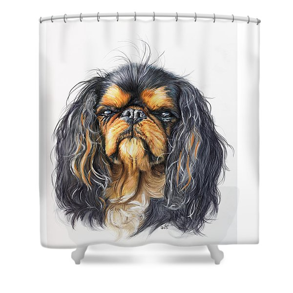 Shower Curtain featuring the painting King Charles Spaniel In Watercolor by Barbara Keith